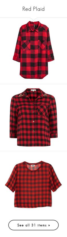 """Red Plaid"" by junnie-poet ❤ liked on Polyvore featuring tops, plaid flannel shirt, red long sleeve top, red flannel shirt, button collar shirt, long sleeve shirts, shirts, blouses, blusas and red"