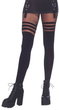 697bc034054 Opaque faux thigh high stockings with striped fishnet thigh