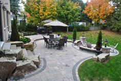 paver ideas for backyard | Backyard Paver Patio, Backyard BouldersBackyard LandscapingOGS ...