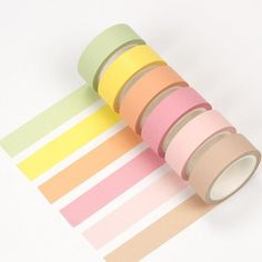 Each set contains 6 tapes of following colors: pale green, yellow, pale orange, pale rose, pink and sand. | Shop now at kawaiipenshop.com | FREE worldwide delivery! #EverydayArtsandCrafts