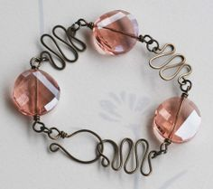 Pink Faceted Twist Coin Crystal Artistic Gunmetal Wire Wrapped Bracelet