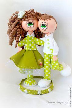 Человечки ручной работы. Ярмарка Мастеров - ручная работа. Купить Кукла из  из фоамирана. Handmade. Зеленый, фоам эва, свадьба