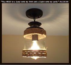Jute Glass Semi Flush Ceiling Light