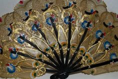 Gold lackiert Hand Fan Jugendstil Fan malte von capecodgypsy
