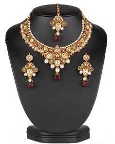 Authentic fashion gold plated Imitation Pearls,Emerald,Ruby and Clear Polki set-0626PLKP13  http://www.craftandjewel.com/servlet/the-1894/Authentic-fashion-gold-plated/Detail