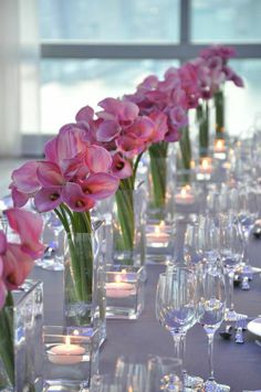 Leaning pink calla lilies - By Flowers of the World Calla Lily Centerpieces, Wedding Centerpieces, Wedding Decorations, Table Decorations, Wedding Ideas, Calla Lillies Wedding, Wedding Flowers, Calla Lilies, Reception Seating