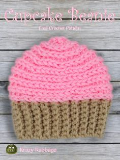 Happy New Year! Here is my first pattern of I hope you like it! This simple cupcake hat is part of a bigger design I'll be releasing in the next week or two. I'm really excited ab… Crochet Cupcake Hat, Crochet Baby Hats, Crochet Gifts, Crochet For Kids, Crochet Hooks, Free Crochet, Knit Crochet, Baby Cupcake, Crochet Scarfs