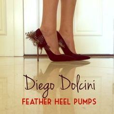 """Diego Dolcini LIMITED EDITION feather heel pumps Diego Dolcini Feather-Heel Pump size 9 FITS LIKE A 7.5/8!!!  Fly by night: Feathers fan out over the back of this Diego Dolcini pump. Satin pump presents polished pointed toe. Goose, mallard, and guinea fowl feathers. 4 1/3"""" metal heel. Made in Italy.  NWT, never worn. purchased at Neiman Marcus. Diego Dolcini Shoes Heels"""