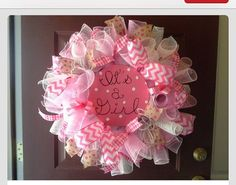 Its a Girl Wreath, burlap accents, pink ribbons with Its a Girl Sign in center. Shipped out ASAP for Friday 18th deadline. Thanks Stephanie