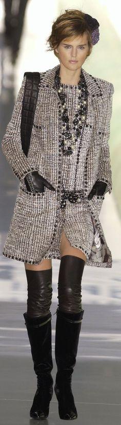 Chanel ~ Saddle Brown + Beige Tweed Mini Dress w Top Coat:
