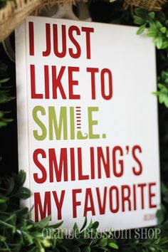 Cute Buddy the Elf wooden sign. I just like to smile, Smiliing's my favorite.