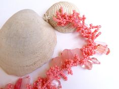 Fringe pink bracelet coral style. Made by Poppies Dreams