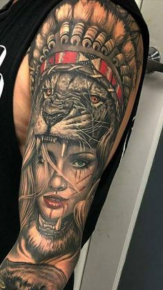 Próxima tattoo - Próxima tattoo You are in the right place about Próxima tattoo Tattoo Design And Style Galleries O - Warrior Tattoo Sleeve, Animal Sleeve Tattoo, Lion Tattoo Sleeves, Best Sleeve Tattoos, Tattoo Sleeve Designs, Tattoos 3d, Lion Forearm Tattoos, Lion Head Tattoos, Hand Tattoos