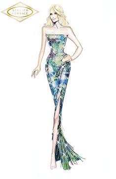 Fashion Illustration Dresses, Fashion Illustrations, Versace Dress, Donatella Versace, Atelier Versace, Fashion Design Sketches, Illustration Sketches, Catwalk, Models