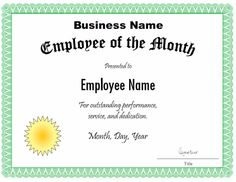 Employee Of The Month Certificate Template. Customize The inside Employee Of The Month Certificate Template With Picture - Best & Professional Templates Ideas Certificate Of Recognition Template, Free Certificate Templates, Printable Certificates, Certificate Design, Employee Awards, Good Employee, Employee Appreciation Gifts, Employee Gifts, Appreciation Images