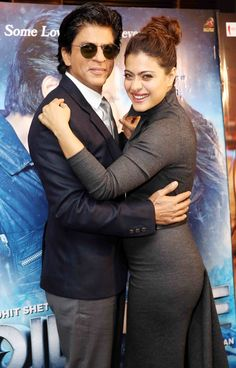 "Shah Rukh Khan with co-star Kajol promoting latest release ""Dilwale"" in London, December 2015."