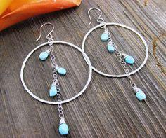 Large Sterling Silver & Sleeping Beauty Turquoise Hoop Earrings by TNineDesign