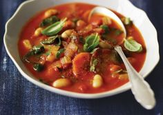 Spicy Sun-Dried Tomato Soup with White Beans & Swiss Chard
