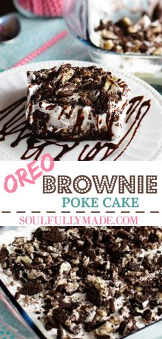 Cake like brownie layered with Oreo pudding and topped off with whipped topping and crushed Oreos drizzled with chocolate fudge are the makings of this most delicious Oreo Brownie Poke Cake dessert! #OreoBrownie #BrownieCake #OreoPokeCake #OreoBrowniePokeCake