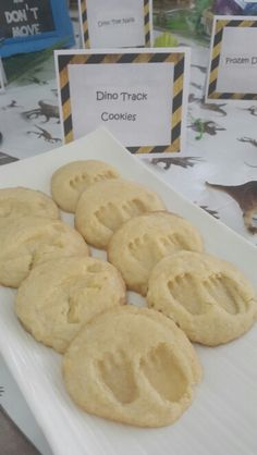 Fiesta de dinosaurio Homemade sugar cookies with dino tracks Galletas hechas en casa con huellas de dinosaurio