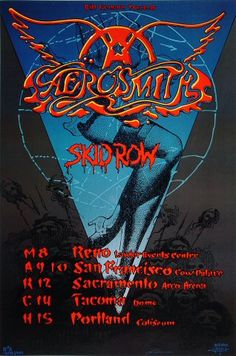 "Aerosmith Poster from Lawlor Events Center on 08 Mar 90: 18 3/4"" x 28 1/4"""