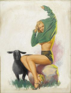 EARL MORAN (American 1893-1984) . Baa Baa Black Sheep, c.1947 . Pastel on illustration board
