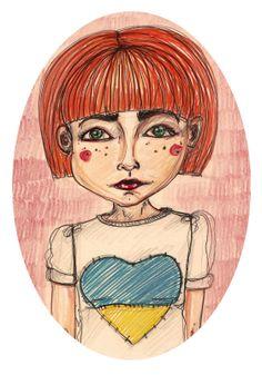 Stay strong, Ukraine! | Gabrielė Ganžaitė Stay Strong, Ukraine, Disney Characters, Fictional Characters, Illustration Art, Fine Art, Disney Princess, Artist, Fantasy Characters