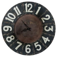 Brimming with rustic appeal, this warmly weathered wood wall clock is the perfect accent to your foyer, living room, or bedroom.  Produc...