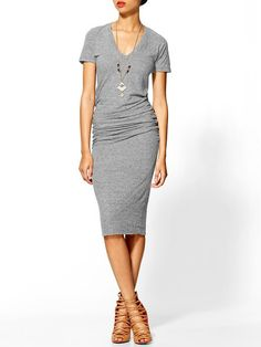 Monrow Shirred Tee Dress