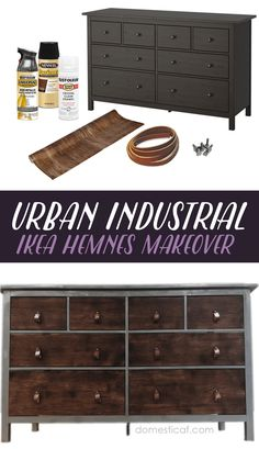 IKEA Hack! Transform an IKEA Hemnes set of drawers into a mixed material urban industrial dresser dream for under $80!