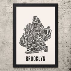 BROOKLYN New York Neighborhood Typography City by FlyingJunction, $20.00