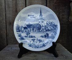 "Scandinavian Vintage Plate 7.5"" Decorative Plate / Wall Decor; Elgporslin plate; Blue & White Porcelain Wall Plate Risinge Kyrka"