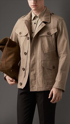 Burberry Chino Grey Linen Field Jacket with Bellows Pockets - A field jacket in lightweight linen with a suede undercollar.  The military-inspired jacket features angled bellows pockets with tonal buttons.  Discover the men's outerwear collection at Burberry.com