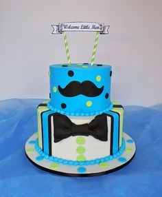 Twin boys mustache & bow tie baby shower cake. Design was brought in by client, inspired by: Karens Custom Cakes NC