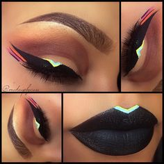 Black, Tiffany Blue, Yellow, and Pink Tribal Lips and Eyeliner... This is so cool, but I doubt I could pull this off haha