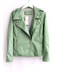 Green Lapel Long Sleeve Zipper PU Leather Jacket