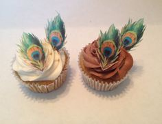 Edible Peacock Feather Cupcake Toppers by TopCupcake on Etsy Peacock Cake, Peacock Wedding Cake, Peacock Cupcakes, Peacock Theme, Cupcake Toppers, Cupcake Cakes, Cupcake Ideas, Easy Cake Decorating, Amazing Wedding Cakes