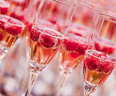raspberries in champagne