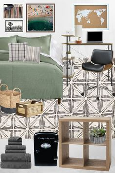 4 budget-friendly dorm room ideas for guys and girls using decor, bedding, furniture, and art from Walmart.