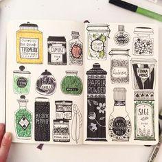 Drawing Doodles Sketchbooks cute sketchbook page - Kunstjournal Inspiration, Sketchbook Inspiration, Arte Sketchbook, Sketchbook Pages, Doodle Drawing, Doodle Art, Moleskine Art, Sketch Note, Spice Jars