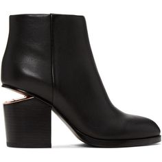 Alexander Wang Black Gabi Boots ($750) ❤ liked on Polyvore featuring shoes, boots, black, block-heel shoes, high ankle boots, leather sole boots, block heel boots and black boots