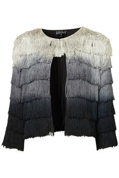 TOPSHOP CO-ORD OMBRE FRINGE JACKET    Price: £75.00  Item code: 17X04CMUL  Colour: MULTI  Tailored trophy jacket with allover fringing with an ombre effect. Co-ords back to shorts. 100% Polyester. Dry clean only.