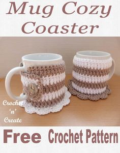 Crochet crafts 159666749275096074 - Solve 2 things in 1 with this free mug cozy coaster pattern, keep your tables from stains and drinks warm. CLICK and scroll down the page for the pattern. Crochet Coffee Cozy, Crochet Cozy, Crochet Gifts, Free Crochet, Crochet Hooks, Crochet Designs, Crochet Patterns, Mug Cozy Pattern, Crochet Kitchen