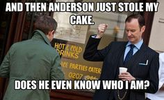 Aw poor Mycroft <--- Maybe next time he won't help Sherlock and drive Anderson to become the Sherlockians/The Fandom Mycroft Holmes, Mrs Hudson, Mark Gatiss, Sherlolly, Sherlock Fandom, 221b Baker Street, Johnlock, Martin Freeman, Hilarious