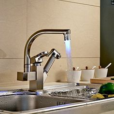 Rozinsanitary Brushed Nickel LED Swivel Spout Kitchen Sink Faucet Pull Out Spray Mixer Tap Rozin http://www.amazon.com/dp/B00MB6NEFY/ref=cm_sw_r_pi_dp_d20jub0GECX47