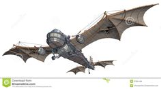 Illustration about render of a fantasy steampunk airship. Illustration of fantasy, machine, retro - 37381168 Dirigible Steampunk, Steampunk Ship, Steampunk Wings, Steampunk Machines, Plane Drawing, Spaceship Art, Spaceship Design, Aviation Humor, Horror Themes