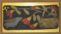 Primitive Folk Art Wool Applique Pattern:  BLUEBIRD PINCUSHION. $5.75, via Etsy.