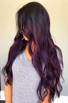 Hairstyles For Men Deep Brown Balayage - Best Balayage Hair. Balayage For Dark Hair. For Men Deep Brown Balayage - Best Balayage Hair. Balayage For Dark Hair. Grey Balayage, Balayage Hair Purple, Dark Purple Hair, Brown Ombre Hair, Lilac Hair, Hair Color Purple, New Hair Colors, Cool Hair Color, Black Hair With Color