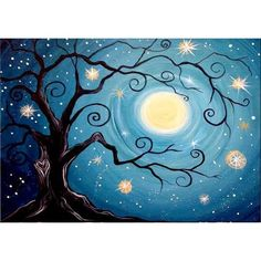 Moon Painting, Tree Painting Easy, Painting Steps, Abstract Tree Painting, Glue Painting, Star Painting, Galaxy Painting, Spiritual Paintings, Couple Painting