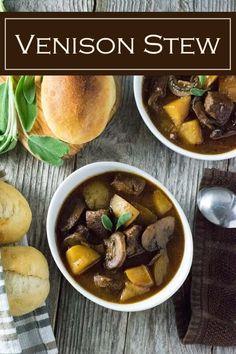 Venison Stew recipe via Easy Appetizer Recipes, Delicious Dinner Recipes, Healthy Dessert Recipes, Yummy Recipes, Game Recipes, Venison Recipes, Cooking Venison, Venison Stew, Curry Stew